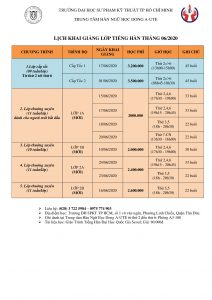 Lịch khai giảng tháng 6/2020 trung tâm Hàn Ngữ DongA-UTE